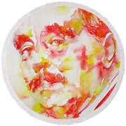 Round Beach Towel featuring the painting H. G. Wells - Watercolor Portrait by Fabrizio Cassetta