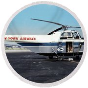 H406a, New York Airways, Skybus At Idlewild International Airpor Round Beach Towel by Wernher Krutein