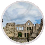 Ha Ha Tonka Castle Panorama Round Beach Towel