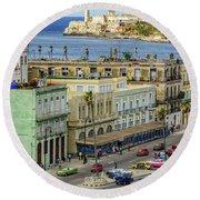 Round Beach Towel featuring the photograph Habana Havana  by Steven Sparks