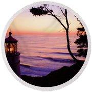 Haceta Head Lighthouse Round Beach Towel