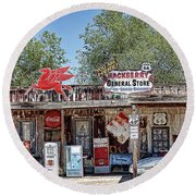 Hackberry General Store On Route 66, Arizona Round Beach Towel