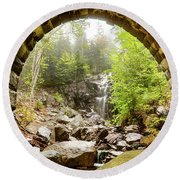 Round Beach Towel featuring the photograph Hadlock Falls Under Carriage Road Arch by Jeff Folger
