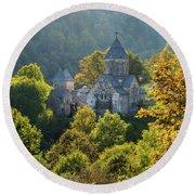 Haghartsin Monastery With Trees In Front At Autumn, Armenia Round Beach Towel by Gurgen Bakhshetsyan