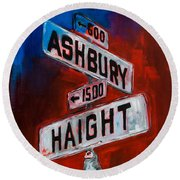 Round Beach Towel featuring the painting Haight And Ashbury by Elise Palmigiani