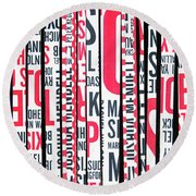 Haiku In Red And Black Round Beach Towel