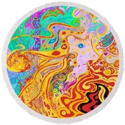 Hair Of The Divine Universe Round Beach Towel