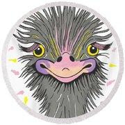 Hair Raising Day - Contemporary Ostrich Art Round Beach Towel
