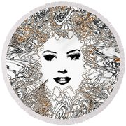 Round Beach Towel featuring the digital art Hair Thair And Everywhair Mara by Seth Weaver