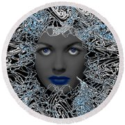 Round Beach Towel featuring the digital art Hair Thair And Everywhair Nadia by Seth Weaver