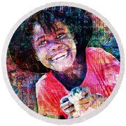 Haitian Daughter Round Beach Towel