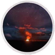 Halemaumau Crater At Night Round Beach Towel