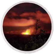 Round Beach Towel featuring the photograph Halemaumau Crater by Susan Rissi Tregoning