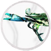 Half Crab - The Left Side Round Beach Towel