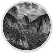Half Dome And El Capitan In Black And White Round Beach Towel by Rick Berk