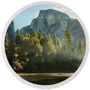 Half Dome And Merced River Autumn Sunrise Round Beach Towel