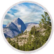 Half Dome And Olmstead Point Round Beach Towel