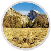 Half Dome During Wintertime Drought Round Beach Towel