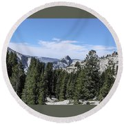 Half Dome From Olmstead Point Yosemite Valley Yosemite National Park Round Beach Towel
