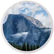 Half Dome In The Clouds Round Beach Towel