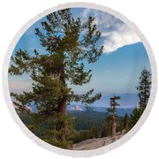 Half Dome Through The Trees Round Beach Towel