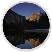 Half Dome, Twilight Round Beach Towel