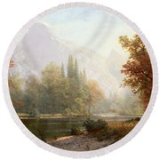 Half Dome Yosemite Round Beach Towel by Albert Bierstadt