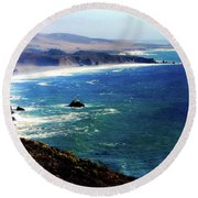 Half Moon Bay Round Beach Towel by Karen Wiles
