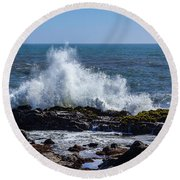 Wave Crashing On California Coast 1 Round Beach Towel