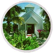 Round Beach Towel featuring the photograph Half Moon Caye Church by Gary Wonning