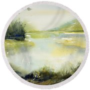 Half Moon Pond Round Beach Towel by Judith Levins
