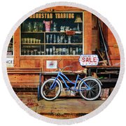 Round Beach Towel featuring the photograph Half Off Sale Bicycle by Craig J Satterlee