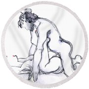 Half Press - Kama Sutra Round Beach Towel