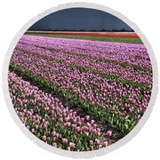 Half Side Purple Tulip Field Round Beach Towel by Mihaela Pater
