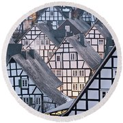 Round Beach Towel featuring the photograph Half-timbered Houses In Detail In Germany by IPics Photography