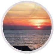 Halibut Point Sunset Rockport Ma Rocky Coast Round Beach Towel