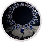 Hall Sapphire And Diamond Necklace Round Beach Towel