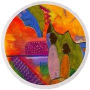 Hallelujah Praise Round Beach Towel by Angela L Walker