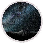 Hallet Peak - Milky Way Round Beach Towel