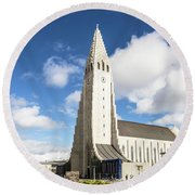 Hallgrimskirkja Church In Reykjavik Round Beach Towel
