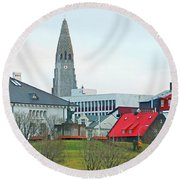 Hallgrimskirkja From Harpa 6219 Round Beach Towel