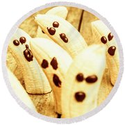 Halloween Banana Ghosts Round Beach Towel