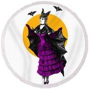 Halloween Batgirl Round Beach Towel