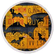 Halloween Bats Recycled Vintage License Plate Art Round Beach Towel by Design Turnpike