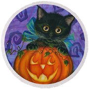 Halloween Black Kitty - Cat And Jackolantern Round Beach Towel