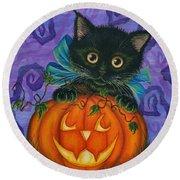 Halloween Black Kitty - Cat And Jackolantern Round Beach Towel