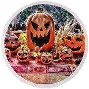 Halloween Display Round Beach Towel by Wendy McKennon