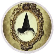 Halloween Frame With Witches Hat Round Beach Towel