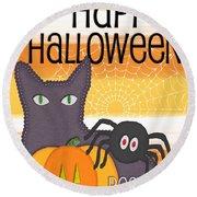 Halloween Friends- Art By Linda Woods Round Beach Towel