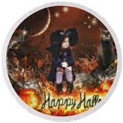 Halloween Girl Round Beach Towel
